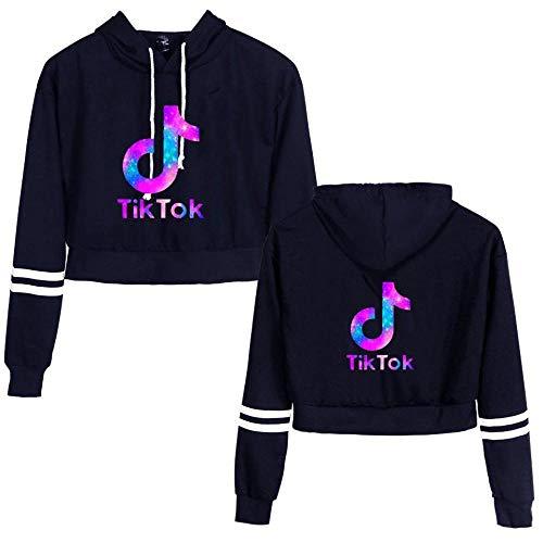 CCDSR - Kurzes Hoodie-Sweatshirt, langärmlige Crop-Top-Pullover für Teenager-Mädchen (farbenfrohes Tik-Tok-Symbol)