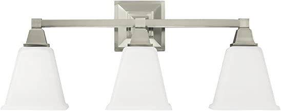 Sea Gull Lighting 4450403-962 Denhelm Three-Light Bath or Wall Light Fixture with Etched White Inside Glass, Brushed Nickel Finish