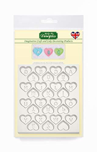 Stampo cuori con lettere dell'alfabeto per glassa fondente (matrimonio, s.valentino) tappetino 10cm