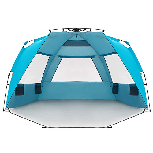 Easthills Outdoors Instant Shader Enhanced Pop Up Beach Tent Instant Sun Shelter with UPF 50+ UV Protection for Kids & Family Pacific Blue