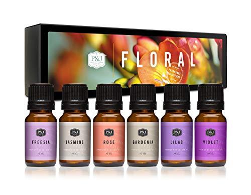 6 Premium Grade Fragrance Oils - Violet, Jasmine, Rose, Lilac, Freesia, Gardenia - 10ml