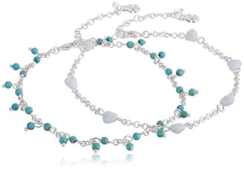 Lucky Brand Jewelry Heart & Turquoise Anklet, Silver (JWEL4339), One Size