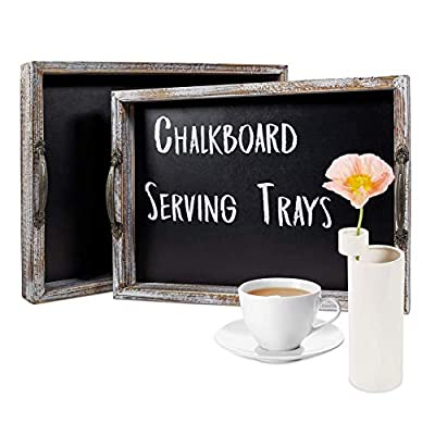 Rustic Serving Tray – Wooden Tray for Coffee Table – Breakfast Serving Trays with Chalkboard Surface and Decorative Handles – Set of 2 Stackable Wood Serving Trays – Vintage Design
