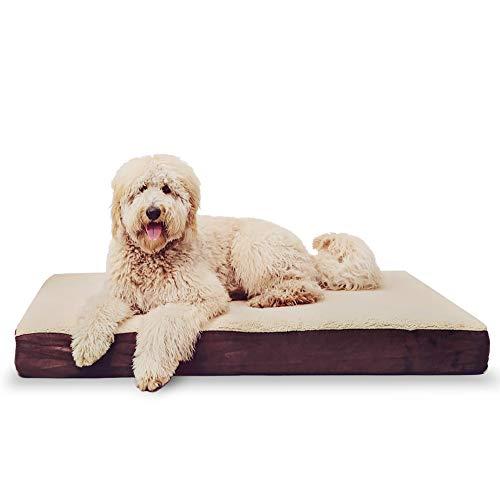 KOPEKS Cama rectangular ortopédica para perro de espuma viscoelástica, incluye protector interior impermeable y funda extraíble, color marrón 🔥
