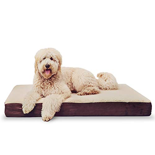 KOPEKS Cama rectangular ortopédica para perro de espuma viscoelástica, incluye protector interior impermeable y funda extraíble, color marrón