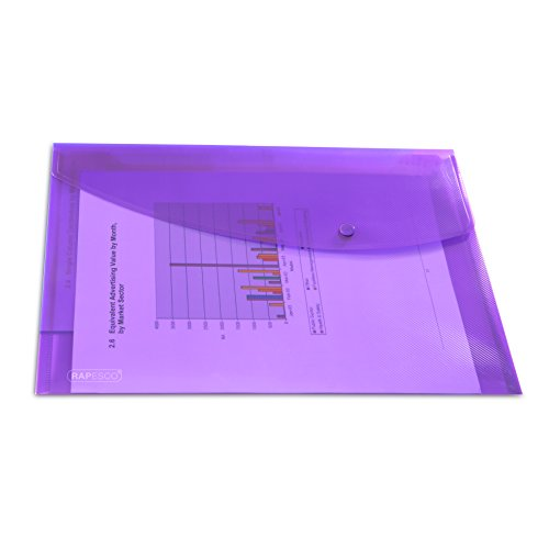 Rapesco 0686 transparente Dokumentenmappe mit Druckknopf, A4-Format, Violett