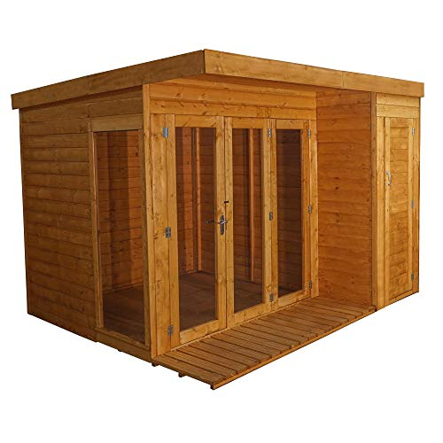 Waltons Wooden Garden Summerhouse with Side Shed 10x8 Garden Room, Sunroom, Outdoor Storage (10 x 8 / 10Ft x 8Ft)