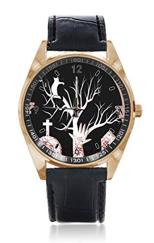 Choeter Halloween-Armbanduhr mit blauem Grabstein, Katze, personalisierbar, für Herren und Damen, wasserdicht, Quarz-Armbanduhr mit austauschbarem Lederband