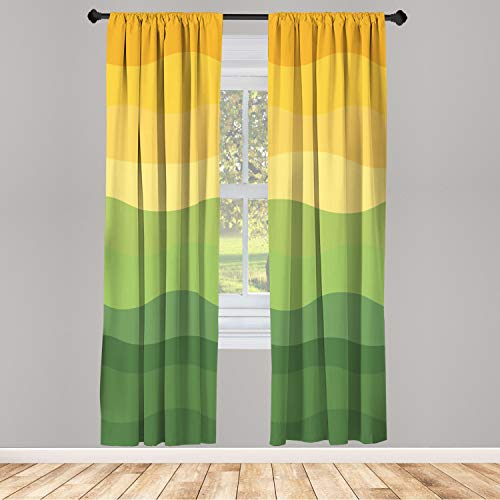 """Ambesonne Abstract Window Curtain Green and Yellow Colored Wavy Lines Curves Earth Inspired, Lightweight Decorative Panels Set of 2 and Rod Pocket, 56"""" x 95"""", Green Mustard"""