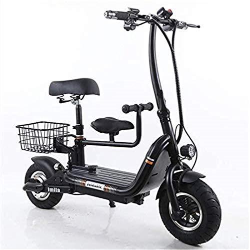 Bicicleta de nieve eléctrica, scooter eléctrico, ligera, plegable, eléctrica, 48 V, 250 W, 8 Ah, bicicleta eléctrica para ciudad, con asiento para niños (color: negro) batería de litio para adultos