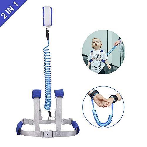 Felly kinder veiligheidslijn, anti-verlies riem, 1,5 m, anti-lost polsbanden, voor reizen met kinderen, set van 2 in 1 upgrade, blauw