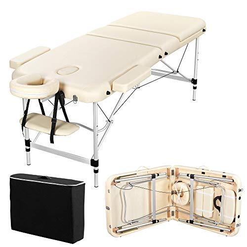 Yaheetech Table de Massage Pliante Professionnelle 70 x 213 cm 3 Section avec Pied en Aluminium Lit de Massage Portable à Hauteur Réglable Repose-tête Ergonomique pour le Massage Spa Tatouage Beige
