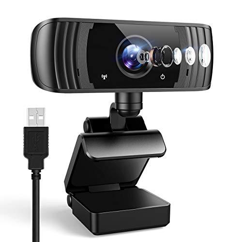 ansinna Webcam 2K mit Mikrofon, 1440P Full HD PC Web Kamera mit Belichtungskorrektur, 110° Blickfeld, USB 2.0 Plug and Play für Videoanrufe, Studieren und Konferenzen, Windows, Mac und Android