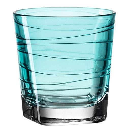 Leonardo Vario Wasser-Gläser 6er Set, spülmaschinengeeignete Saft-Gläser, bunte Trink-Becher aus Glas mit Muster, Getränke-Set, blau 250ml, 018231