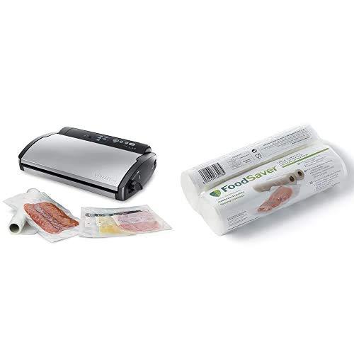 FoodSaver V2860 - Envasadora al vacío, 2 tipos de envasado, 3 velocidades, color negro y plata, 43 x 29 x 10.5 cm + 2001 FSR2002-I envasado al vacío, 2 Rollos de 20 x 6.70 cm, 20 cm x 6.7 m