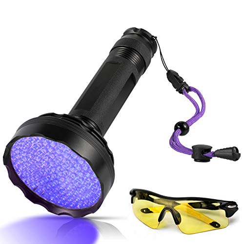 UV Schwarzlicht,Newest 128 LEDs UV Taschenlampe mit UV- Schutzbrille für Heimtierurindetektoren,395nm UV-Licht Scorpion Torch Lampe für unechte Banknoten, Urin von Hunde, Katzen und andere Haustiere