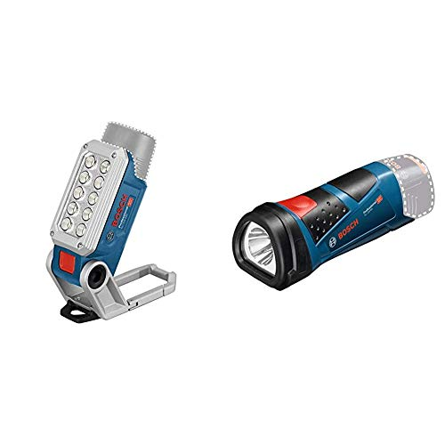 Bosch Professional 12V System Akku LED-Lampe GLI 12V-330 (330 Lumen, 180 min/Ah, ohne Akkus und Ladegerät) & 12V System Akku LED Taschenlampe GLI 12V-80 (80 Lumen, ohne Akkus und Ladegerät)