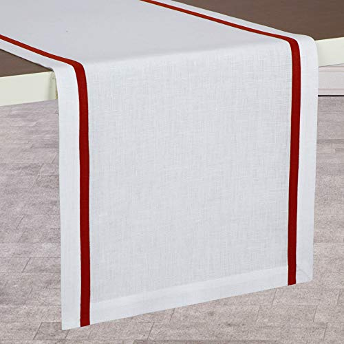 D'Moksha Homes New Launch 100% Pure Linen Stripe Table Runner, Premium Natural Fabric European Flax, Machine Washable, Handcrafted Dresser Scarf, Great Gift Choice, 14 x 108 Inch White and Red