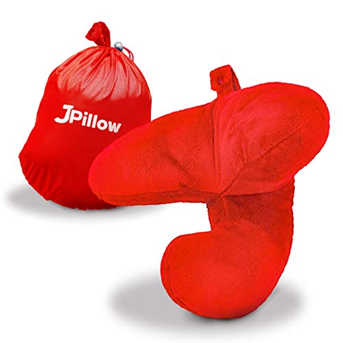 J-pillow, Travel Pillow - Head, Chin and Neck Support (Red)