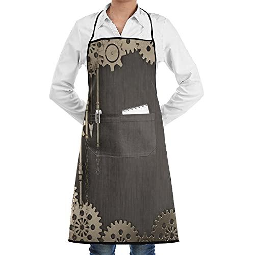 HUAYEXI Delantales Impermeables del Cocinero con Bolsillo,Elementos Steampunk Cuadrados Abstractos con Engranajes Dorados,manecillas de Reloj,Cadenas y Varios Metales,Delantal Chefs Cocina