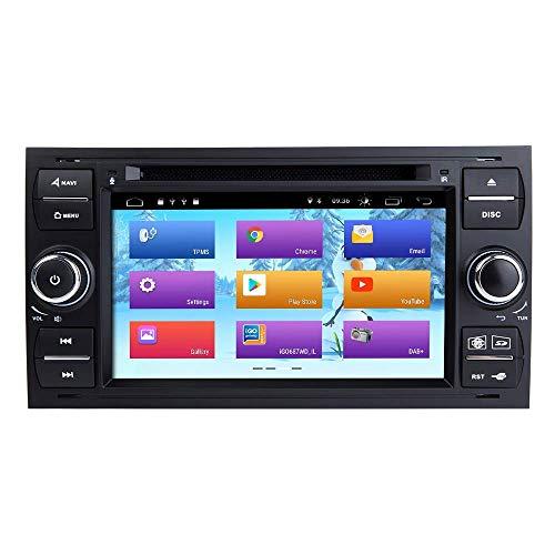 Para Ford Focus Mondeo S-MAX C-MAX GALAXY COCE STEREO GPS Navegación Pantalla Táctil Player Radio Doble Din Head Unidad Soporte de soporte Espejo Mirror WiFi Control del volante ( Color : Black )