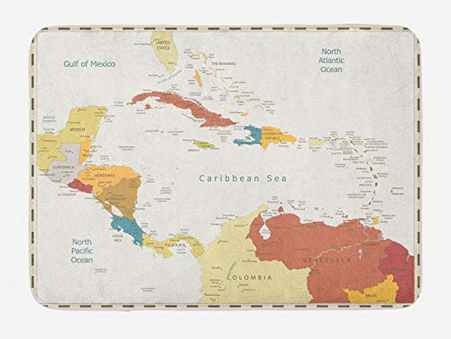 Ambesonne Vintage Cartography Bath Mat, Retro Map Americas Carribean Sea, Plush Bathroom Decor Mat with Non Slip Backing, 29.5' X 17.5', Eggshell Multicolor