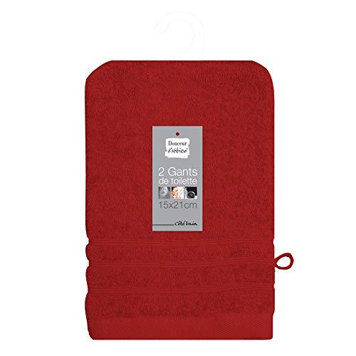 douceur d'intérieur 2 gants de toilette 15x21 cm eponge vitamine rouge
