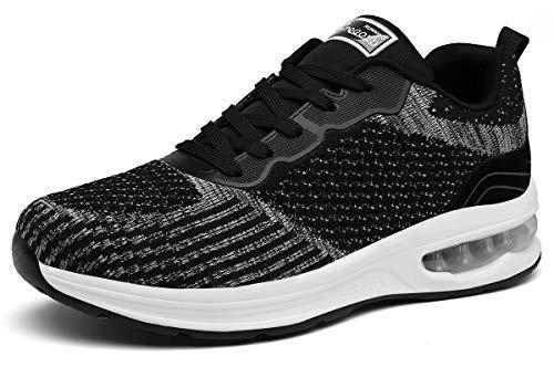 TQGOLD Scarpe da Ginnastica Donna Uomo Sportive Scarpe da Corsa Running Fitness Sneakers Casual Nero Taglie 42