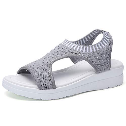 Ligero Deportivo Sandaliaias,Elasticidad Respirable Malla Ejecutar Zapatos,Espesar Único Al Aire Libre Sandalia,Verano Zapatos Deportivos para Las Mujeres Gris 44 EU