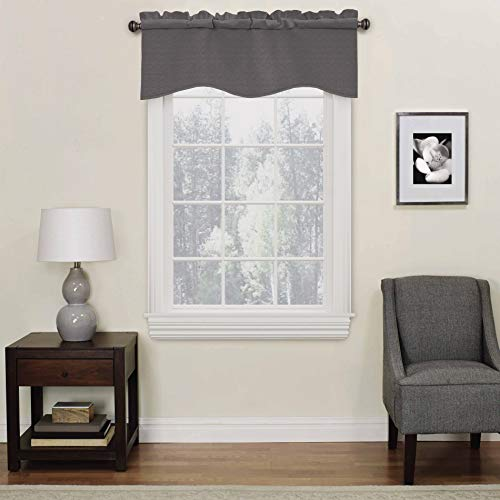 """Eclipse Kendall Solid Scalloped Window Valance Curtains, 42"""" x 18"""", Charcoal"""