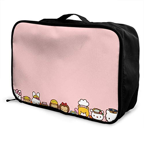 Travel Duffel Bag Hello Kitty Families Lightweight Large Capacity Portable Lage Bag Weekender Bag Overnight Carry-on Tote
