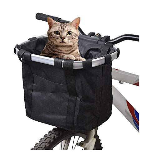 Gugou Folding Small Pet Cat Dog Carrier Front Removable Bicycle Handlebar Basket Quick Release Easy Install Detachable Cycling Bag Mountain Picnic Shopping