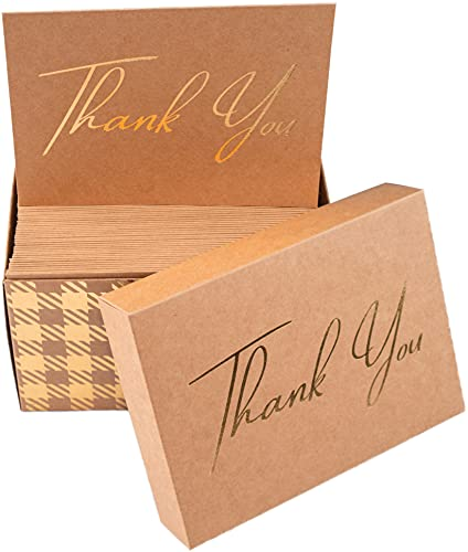 55 Brown Kraft Thank You Cards with Envelopes and Stickers, Gold Thank You Notes Bulk Set with Storage Box, Blank Cards for Business, Wedding, Graduation, Baby Shower, 6.25 x 4.5 inch