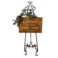 頑丈で丈夫 黒い金属の結婚式のようこそディスプレイフレーム、芸術家/アマチュアのためのポータブルアートイーゼル、クリスマスの活動 (Color : Black)