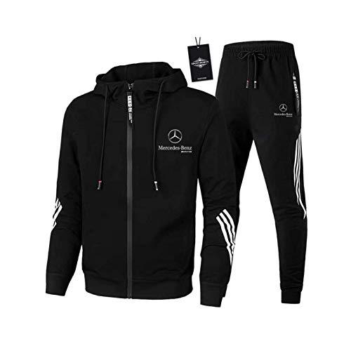 AGLOAT Herren und Damen Sportanzug Für Mercedes-Ben.Z A.M.G Zweiteilige Jacke Pants Stripe mit Kapuze Trainingsanzug Mantel,Schwarz-XL
