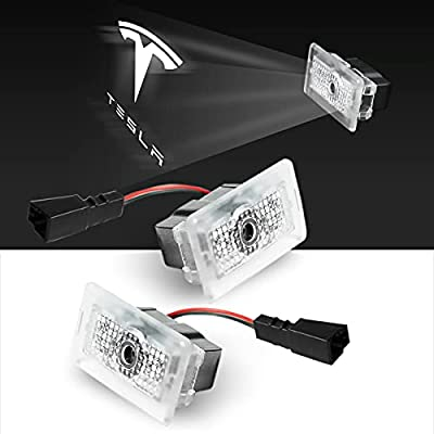 Tesla Puddle Lights, Car Door Welcome Courtesy Step LED Emblem Logo Projector Accessories, Easy Replacement Interior Laser Ghost Shadow Lamp for Model S, 3, X, Y,(2 Pack) HOLYSHINE