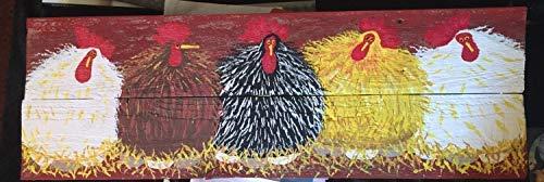 Zhaoshoping Custom 30,5 x 16 cm Hühnerstall Schild Hühner Hahn Farm Schild Hühnerstall Schild Holzschild Wanddeko Garten Schilder und Plaketten
