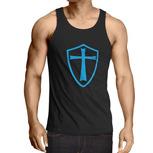 lepni.me Camisetas de Tirantes para Hombre Caballeros Templarios - Escudo de los Templarios (XXXXX-Large Negro Azul)