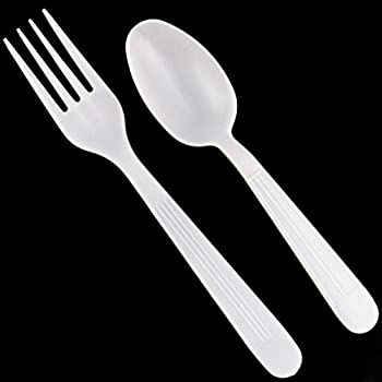 MAUI Plastic Cutlery Combo Set - 100 Forks -100 Spoons - Heavy Duty Disposable Forks and Spoons Spoon good for soup & dinning super heavyweight Good For Gathering & Parties Hard To Break easy open