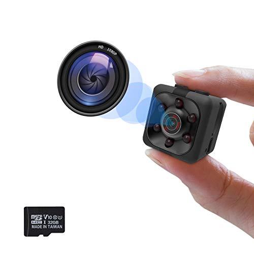 Cámara oculta 1080P, Mini cámara espía, Niñera Cam Full HD con visión nocturna activación de movimiento para cámaras de seguridad cubiertas de interior y exterior