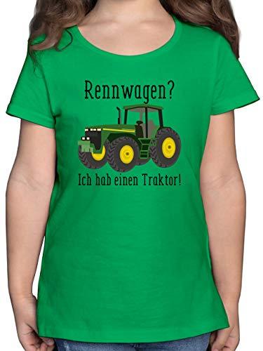 Fahrzeuge Kind - Rennwagen? Traktor! - 116 (5/6 Jahre) - Grün - Kinder Shirt Rennwagen - F131K - Mädchen Kinder T-Shirt