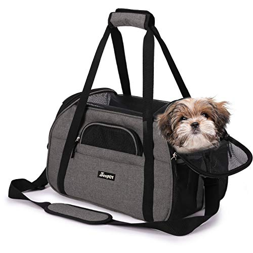 """Soft Sided Pet Carrier Comfort 17"""" for Airline Travel, Portable Dog Tote Bag for Small Animals, Cats, Kitten, Puppy, Smoke Gray"""