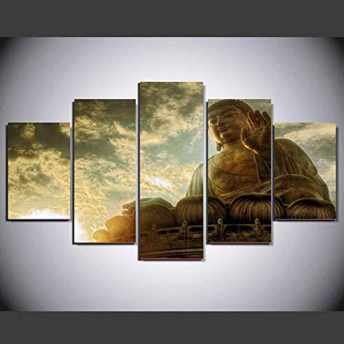 Cuadro en Lienzo 5 Piezas Buda dorado Cuadros Modernos HD Imagen De...