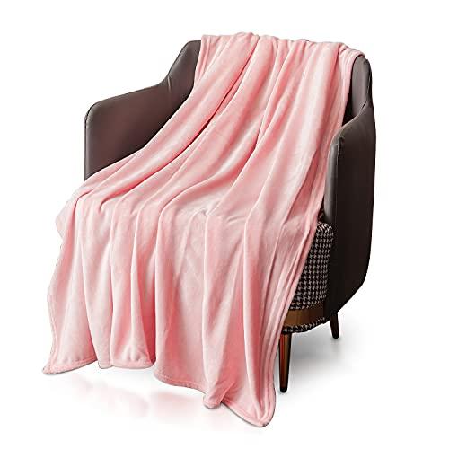 KEPLIN Flanell-Decke, Überwurf, große Tagesdecke (150 x 200 cm) – weich, flauschig, warm, Mikrofaser-Stoff-Design, Bettbezug, Teppich (Peach Blush, Doppelbett)