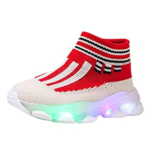 Zapatos De Fiesta Luces NiñOs NiñAs A Rayas De Malla Tejida Voladora Transpirable Led Luminoso Zapatillas Deportivas Zapatos Brillantes Calcetines Zapatos Zapatos De Fiesta De Halloween/Navidad