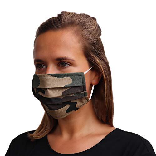 LIEVD® Mundschutz Maske 100% Baumwolle Made in Germany | OEKO-TEX 100 | Gesichtsmaske waschbar | Mund und Nasenschutz wiederverwendbar | Behelfsmaske 2-lagig (Größe M - Camouflage)