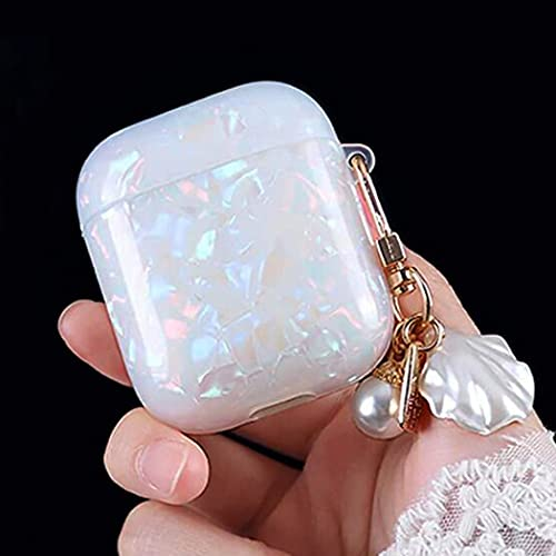 AirPods Case Cover with Pearl Shell Keychain for Apple AirPods 2 & 1, Full Protective Silicone...