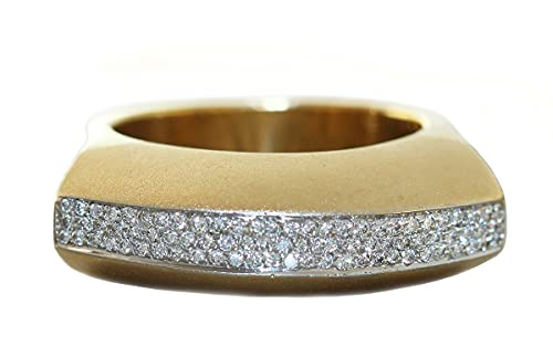 Hobra-Gold Anillo de diamante de oro 750 brillantes de 0,80 quilates para mujer de 18 quilates.
