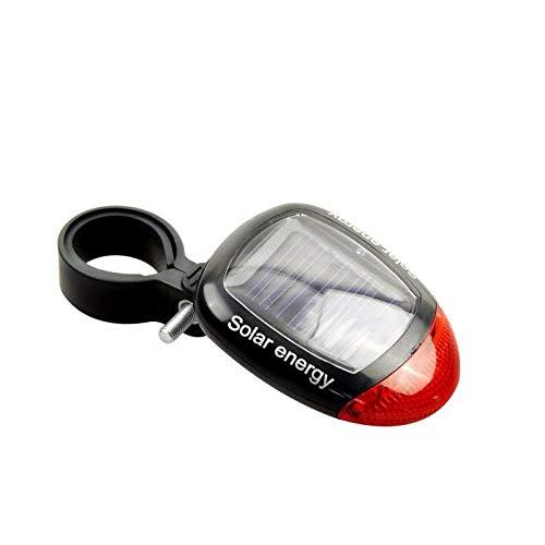 Lututy Fietsachterlicht op zonne-energie, mountainbike-accessoires, gemakkelijk te transporteren, geen batterij nodig, waterdicht nacht rijden, waarschuwingslamp