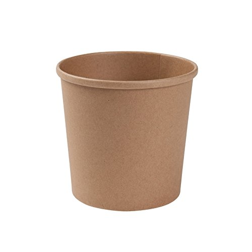 BIOZOYG Taza Bio orgánica de cartón Kraft I Taza compostable con Recubrimiento Interior de PLA Taza Sopera de Cartón To Go Taza para Helado I 25 Vasos orgánicos desechable Biodegradable 600 ml